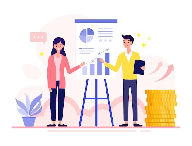 Analitycy finansowi kobiety i mężczyźni raportują wyniki finansowe, które rosną co kwartał.