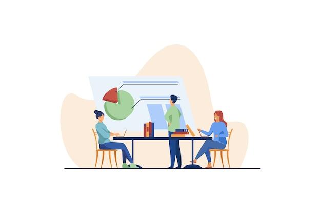 Analitycy pracujący razem i omawiający wykres. firma, pracownik, płaska ilustracja stołu.