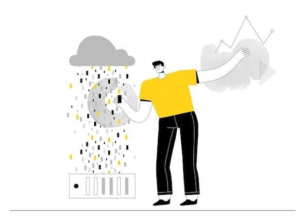 Analityk big data pracuje z danymi na serwerze iw chmurze