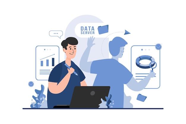 Analityk danych z wielozadaniową koncepcją ilustracji