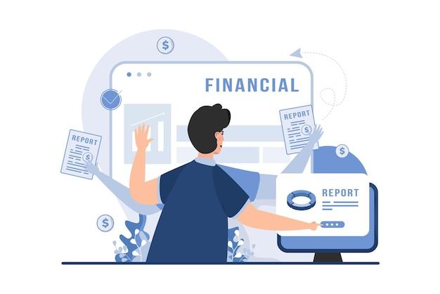 Analityk finansowy z wielozadaniową koncepcją ilustracji wektorowych