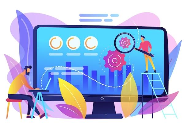 Analityk i specjalista cro zwiększa procent klientów. optymalizacja współczynnika konwersji, system marketingu cyfrowego, koncepcja marketingu przyciągania potencjalnych klientów. jasny żywy fiolet na białym tle ilustracja