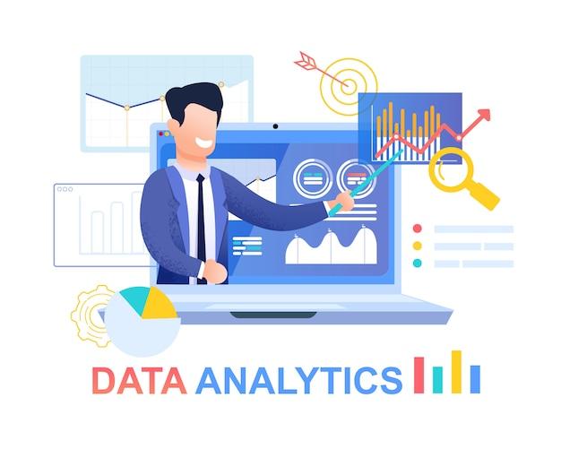 Analityka danych. młody biznesmen w niebieskim kolorze.