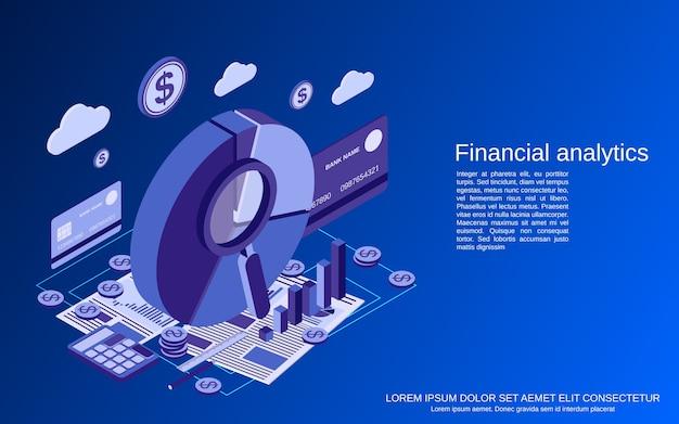 Analityka finansowa, ilustracja koncepcja płaskiej izometrycznej statystyki biznesowej