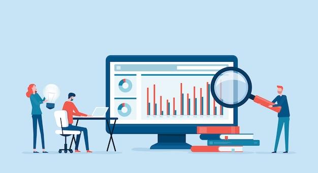 Analityka I Monitorowanie Ludzi Biznesu Na Koncepcji Monitora Pulpitu Nawigacyjnego Raportu Internetowego Premium Wektorów