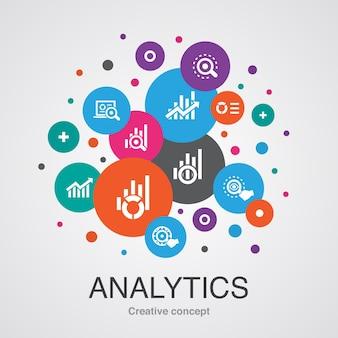 Analityka modna koncepcja projektowania bańki interfejsu użytkownika z prostymi ikonami. zawiera takie elementy jak wykres liniowy, badania internetowe, trendy, monitorowanie i inne