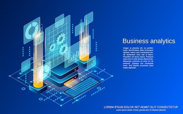 Analiza biznesowa ilustracja koncepcja płaski izometryczny wektor