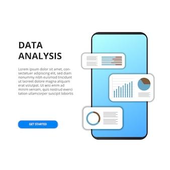 Analiza danych aplikacji mobilnej z wykresu, wykresu, statystyki dla biznesu, finansów, raportu
