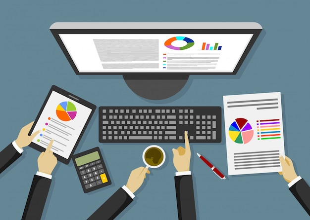 Analiza danych biznesowych, ilustracja.
