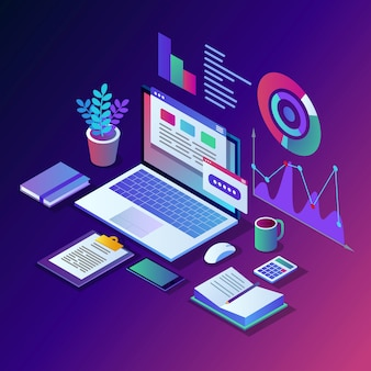 Analiza danych. cyfrowe raportowanie finansowe, seo, marketing. zarządzanie biznesem, rozwój. izometryczny laptop, komputer, komputer z wykresem, wykres, statystyka. na stronie internetowej