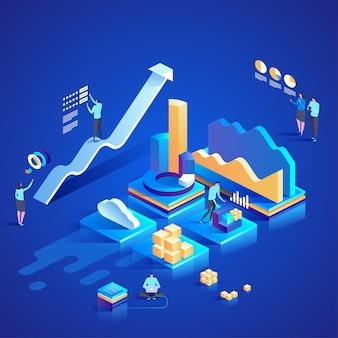 Analiza danych dla strony internetowej i strony mobilnej. łatwe do edycji i dostosowywania. ilustracja koncepcja izometryczny nowoczesny design