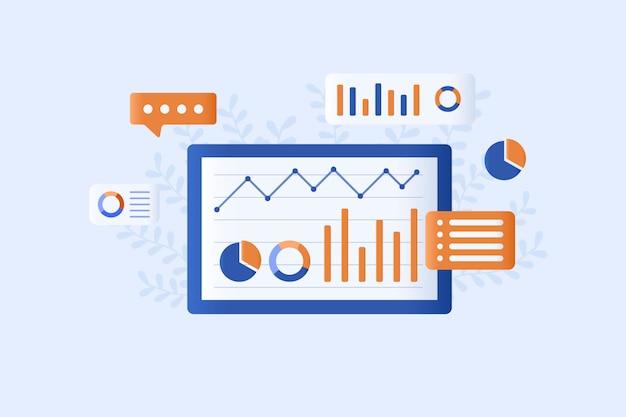 Analiza danych ilustracja płaski styl projektowania