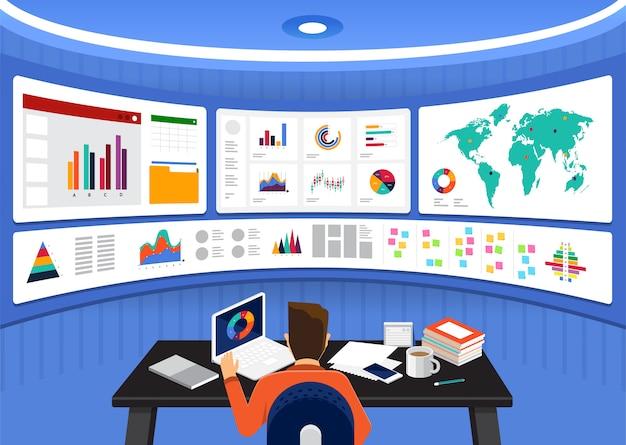Analiza danych koncepcyjnych. wizualizuj za pomocą wykresu i wykresu wzrostu gospodarczego. ilustracja.