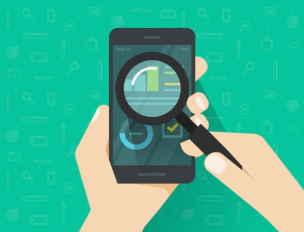 Analiza danych na ekranie telefonu komórkowego lub smartfona przez szkło powiększające płaskie wektor kreskówka