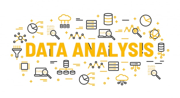 Analiza danych słów otoczona ikonami