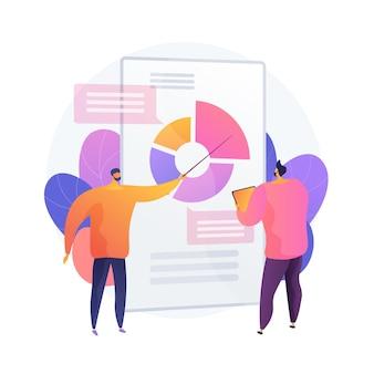Analiza danych statystycznych. administracja finansowa. schemat kołowy z kolorowymi segmentami, biznesowy wykres kołowy. statystyka, audyt, doradztwo. ilustracja wektorowa na białym tle koncepcja metafora