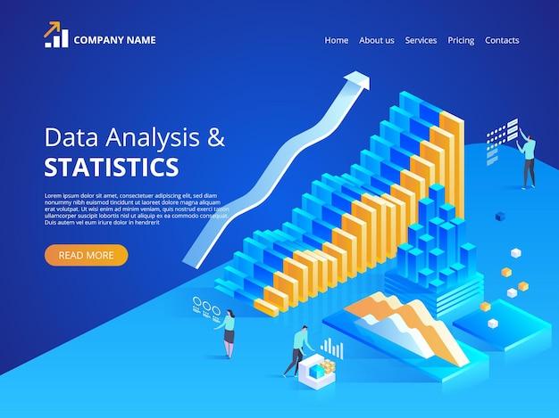 Analiza danych. statystyki online. izometryczna ilustracja na stronę docelową, projektowanie stron internetowych, baner i prezentację.