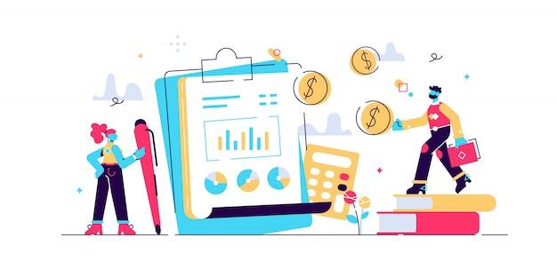 Analiza finansowa, biznesplan. raport zysków i strat. sprawozdanie z przepływów pieniężnych. rachunek zysków i strat, sprawozdanie finansowe firmy, koncepcja bilansu. ilustracja koncepcja na białym tle
