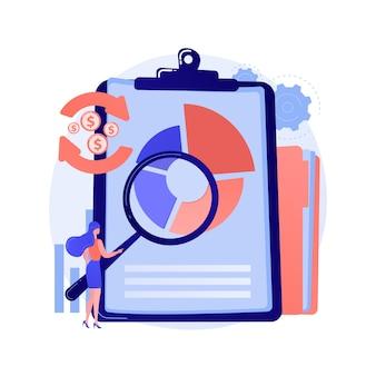 Analiza finansowa. postać z kreskówki człowieka z lupą analizując diagram kołowy z kolorowymi segmentami. ocena, audyt, badania.