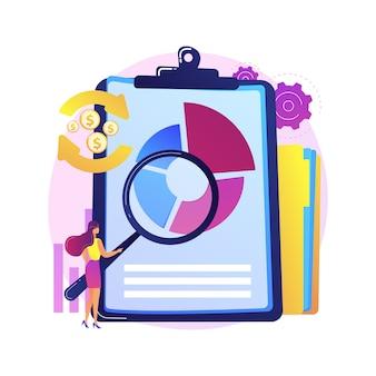 Analiza finansowa. postać z kreskówki człowieka z lupą analizując diagram kołowy z kolorowymi segmentami. ocena, audyt, badania