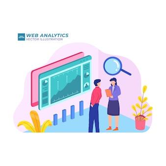 Analiza internetowa płaski ilustracja rozwój marketingu internet cyfrowy