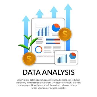Analiza raportu danych finansowych z wykresem, wykresem, strzałką, statystykami, z ilustracyjną złotą monetą