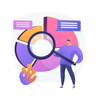 Analiza statystyczna. postać z kreskówki człowieka z lupą analizowania danych. schemat kołowy z kolorowymi segmentami. statystyka, audyt, badania.