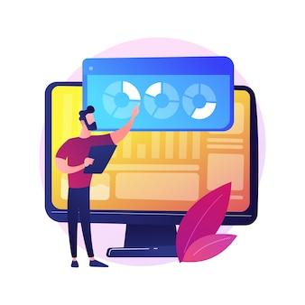 Analiza strony internetowej. analityka raportów seo. wykresy kołowe, diagramy, ekran monitora komputera. coroczna prezentacja analityków biznesowych i finansowych.
