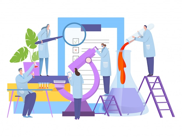 Analizy badanie w laboratorium, ilustracja. postać naukowca biologii wokół dużego mikroskopu, przeprowadzić eksperyment.