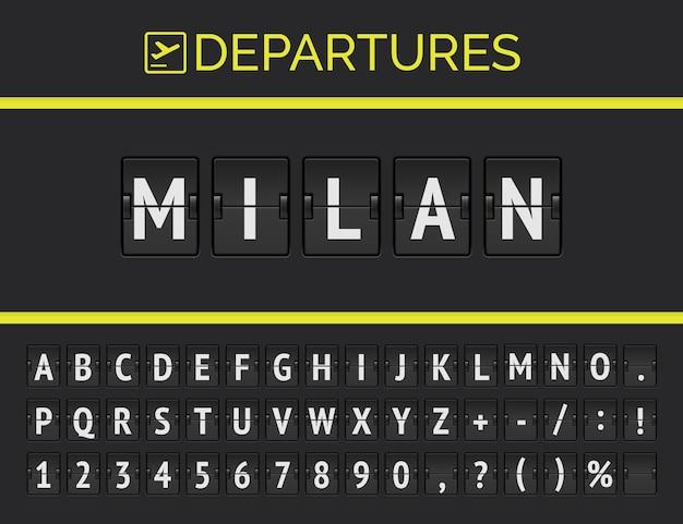 Analogowa tablica na lotnisku wyświetla informacje o locie docelowym w europie: mediolan z ikoną znaku samolotu i czcionką pełnego rozkładu lotów