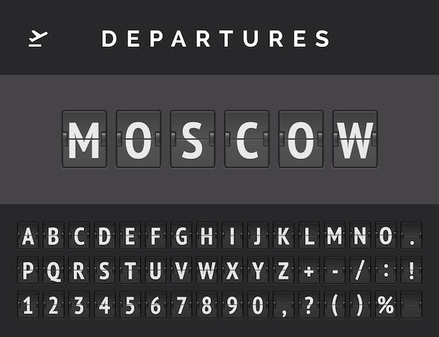 Analogowa tablica na lotnisku wyświetla informacje o locie wylotu w europie: moskwa z ikoną znaku samolotu i pełną czcionką