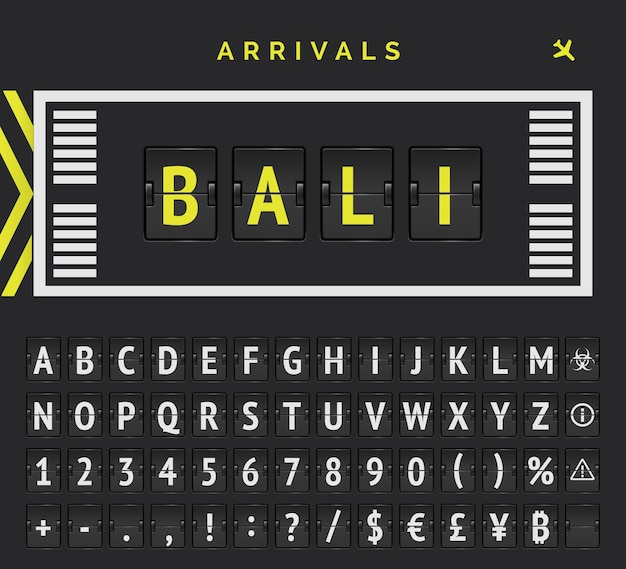 Analogowa tablica wyników z wektorem stylu znaczników pasa startowego lotniska z wyspą bali jako miejscem przylotów.