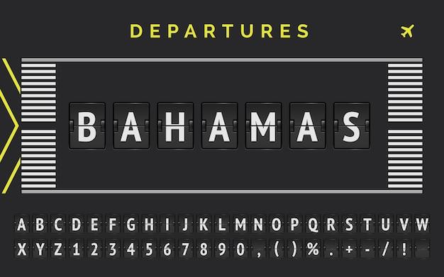 Analogowa tablica wyników ze znacznikami pasa startowego lotniska z miejscem docelowym na bahamach.