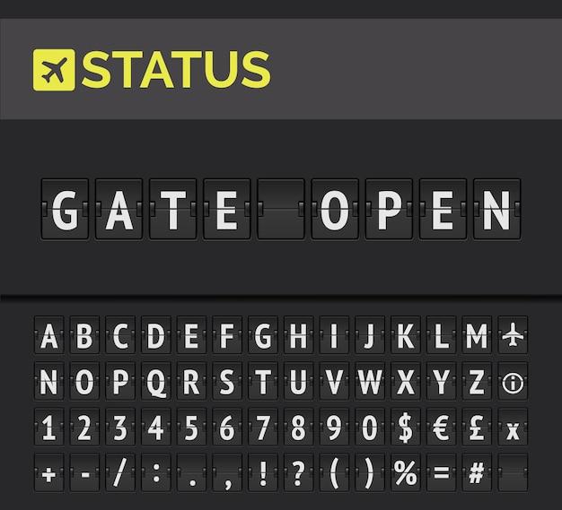 Analogowa tablica wyświetlająca informacje o locie na lotnisku o statusie odlotu: brama otwarta z ikoną znaku samolotu i alfabetem
