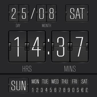 Analogowy czarny cyfrowy zegar tygodniowy z funkcją flipping board z datą i godziną tygodnia