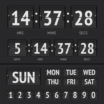 Analogowy czarny cyfrowy zegar tygodniowy z tablicą wyników