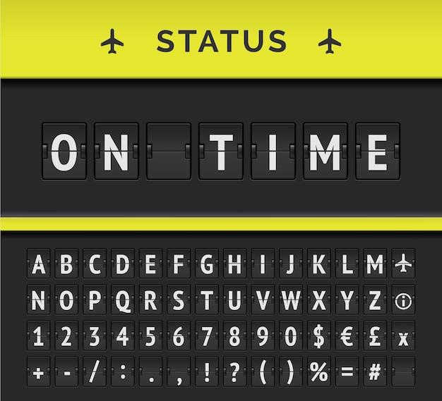 Analogowy rozkład jazdy z tablicą pokazującą informacje o locie na lotnisku o statusie odlotu: na czas, z ikoną znaku samolotu i alfabetem