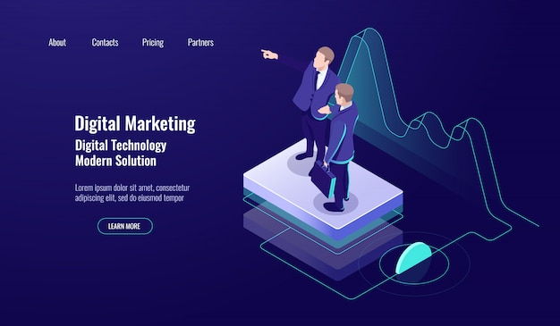 Analytics marketing cyfrowy, koncepcja izometryczna, praca zespołowa, umiejętność uczenia się, pracownik naukowy, ciemny neon