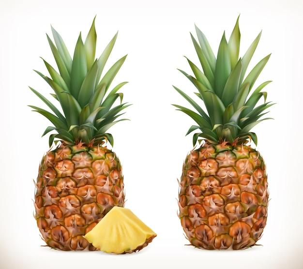 Ananas. całość i kawałki. słodki owoc. zestaw ikon. realistyczna ilustracja