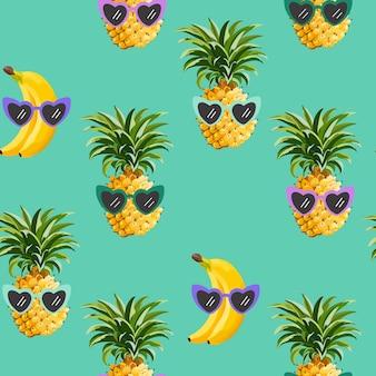 Ananas i banan śmieszne okulary wzór do druku mody, lato tekstury, tapety, projekt graficzny, tropikalny tło, ilustracja owoców w wektorze