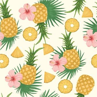 Ananas ilustracja wzór bez szwu