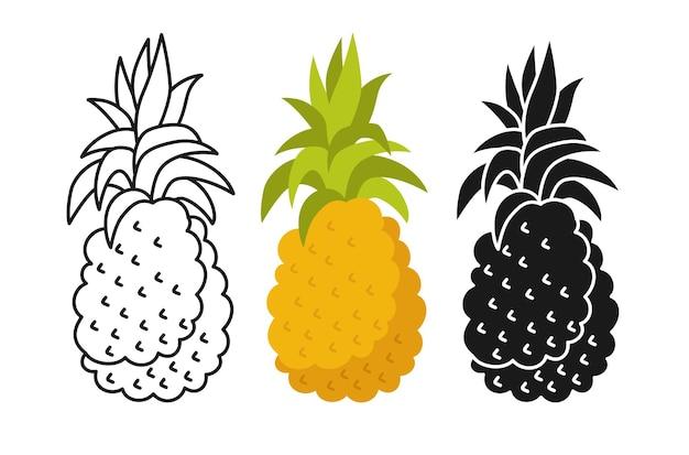 Ananas kreskówka zestaw linii, czarny styl glifów.