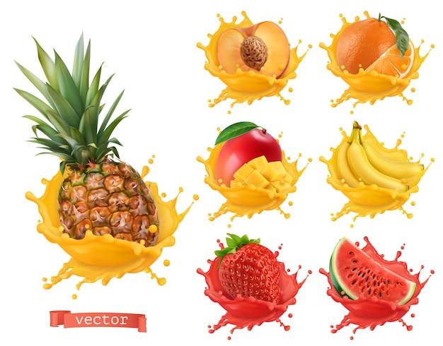 Ananas, pomarańcza, mango, banan, brzoskwinia, truskawka, sok z arbuza. świeże owoce i plamy, 3d realistyczny zestaw ikon wektorowych