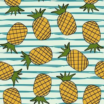 Ananas ręcznie rysowane lato wzór