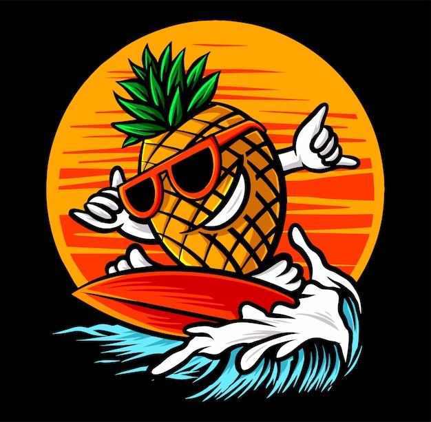 Ananas surfing plaża na czarnym tle