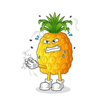 Ananas uderza w postać muchy