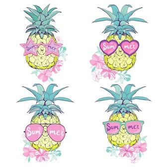 Ananas w okularach projekt, egzotyczne, jedzenie, owoce, ilustracja natura ananas lato tropikalny wektor rysunek świeże