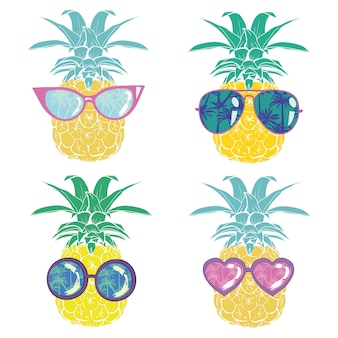 Ananas w okularach tropikalny, wektor, ilustracja, projekt, egzotyczny, jedzenie, owoc