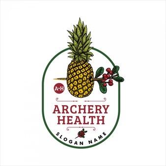 Ananas z ręcznie rysowanym logo strzałki
