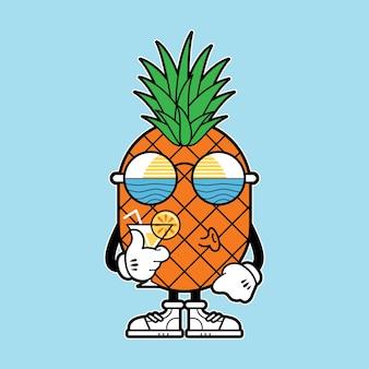 Ananas zabawny charakter wakacje plaża morze natura ilustracja projekt sztuki